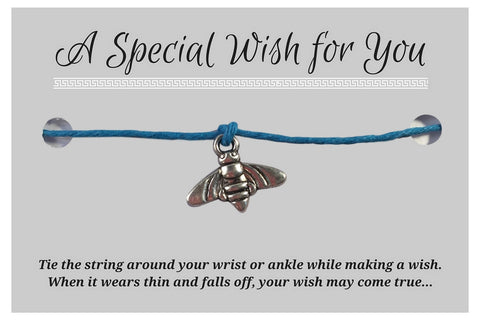 Bumble Bee Charm WISH BRACELET/ ANKLET 14 Colours Hemp with Silver Tone Charm - Vilda Fashion Jewellery - 3