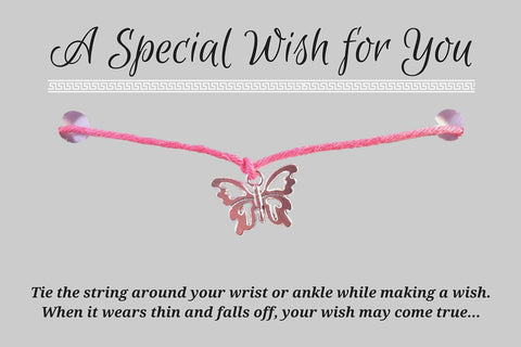 Butterfly Charm WISH BRACELET/ ANKLET 14 Colours Hemp with Silver Tone Charm - Vilda Fashion Jewellery - 2