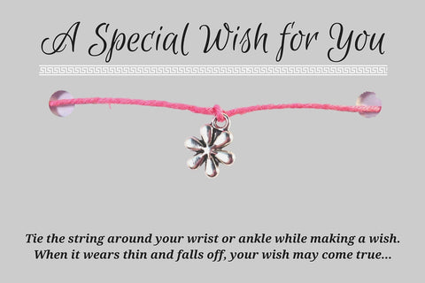 Daisy Flower Charm WISH BRACELET/ ANKLET 14 Colours Hemp with Silver Tone Charm - Vilda Fashion Jewellery - 3