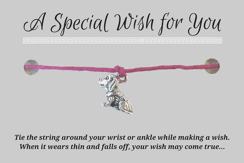 Dog Charm WISH BRACELET/ Anklet 14 Colours Hemp with Silver Tone Charm Doggy Pet Lover - Vilda Fashion Jewellery - 3