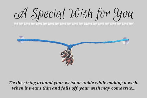 Elephant Charm WISH BRACELET/ ANKLET 14 Colours Hemp with Silver Tone Charm - Vilda Fashion Jewellery - 2