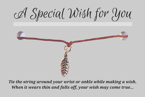 Feather Charm WISH BRACELET/ ANKLET 14 Colours Hemp with Silver Tone Charm - Vilda Fashion Jewellery - 3