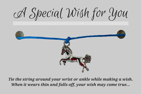 Horse Charm WISH BRACELET/ ANKLET 14 Colours Hemp with Silver Tone Charm Friendship - Vilda Fashion Jewellery - 3