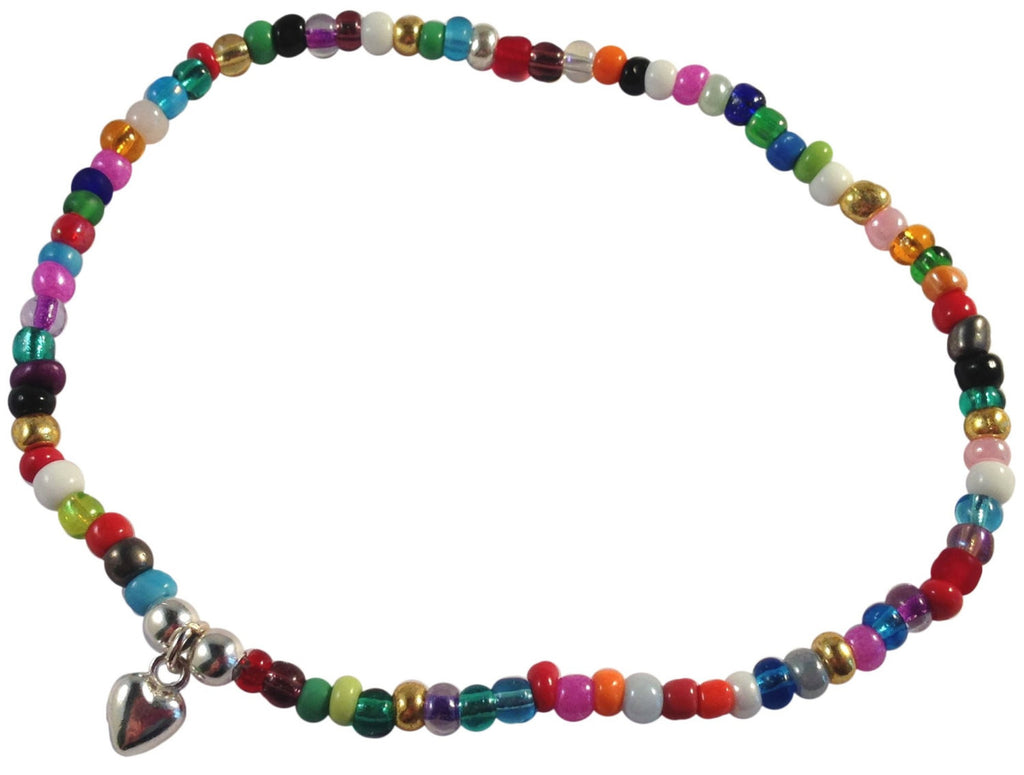 ANKLET Slim 9 Colour Choices Glass Seed Beads on Elastic with Small Heart Carm - Vilda Fashion Jewellery - 1