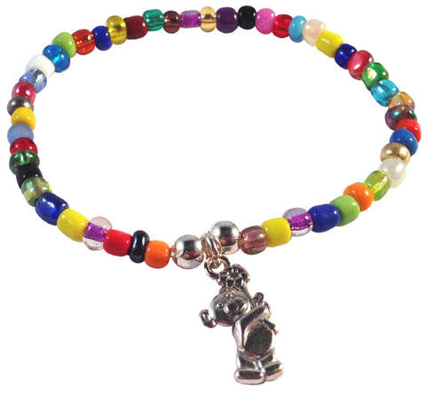 Teddy Bear with Flower Charm BRACELET 9 Colour Choices Seed Glass Beads and Silver Tone Beads - Vilda Fashion Jewellery - 3