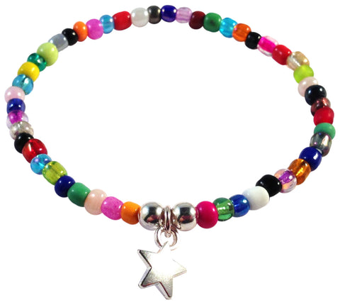 Dangly Star Charm BRACELET 9 Colour Choices Seed Glass Beads and Silver Tone Beads - Vilda Fashion Jewellery - 3