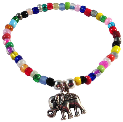 Elephant Charm BRACELET 9 Colour Choices Seed Glass Beads and Silver Tone Beads - Vilda Fashion Jewellery - 3