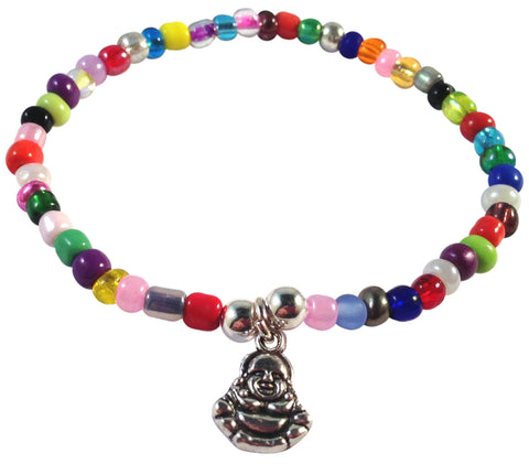 Buddha Charm BRACELET 9 Colour Choices Seed Glass Beads and Silver Tone Beads Meditation - Vilda Fashion Jewellery - 3