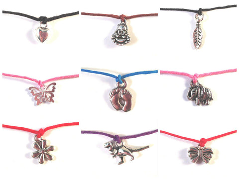 Party Favours 5 x WISH BRACELETS / ANKLETS Hemp and Silver Tone Charms Friendship - Vilda Fashion Jewellery - 2