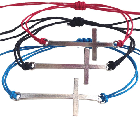 Dainty CROSS SYMBOL Hemp Bracelet 14 Colours One Size Fits All Handmade Friendship