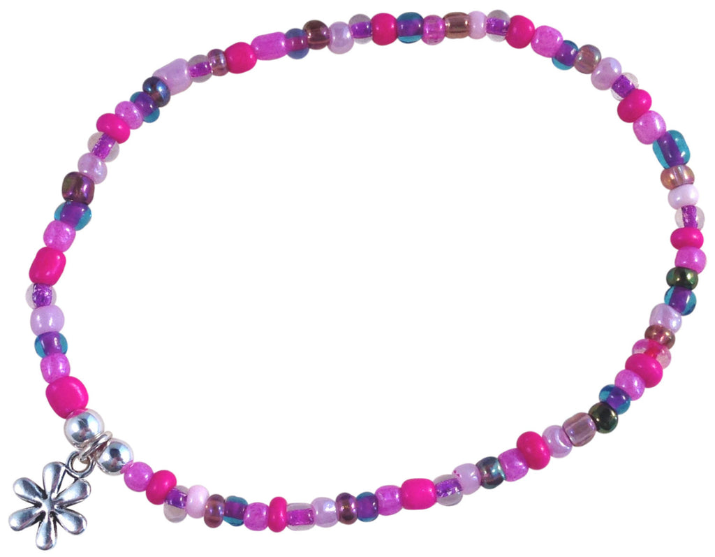 ANKLET with Small DAISY FLOWER Charm 9 Colour Choices Slim Glass Seed Beads Mix - Vilda Fashion Jewellery - 1