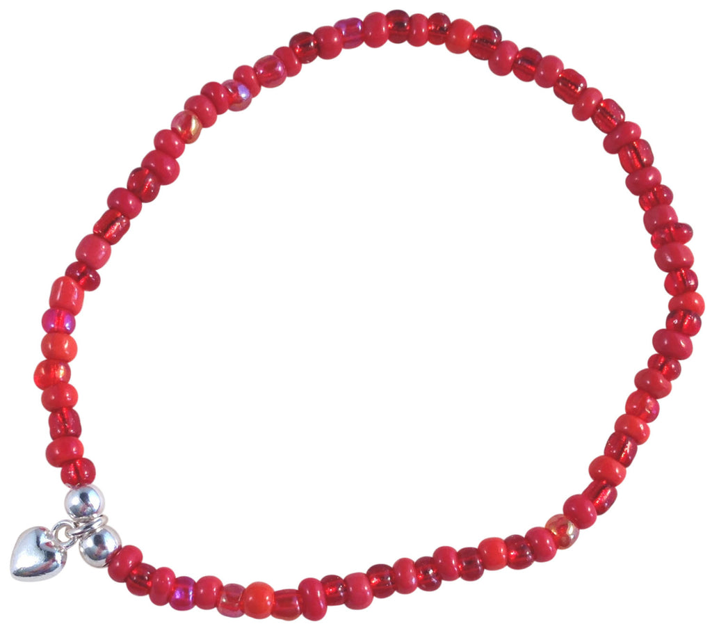 ANKLET with Small HEART Charm 9 Colour Choices Slim Glass Seed Beads Mix - Vilda Fashion Jewellery - 1