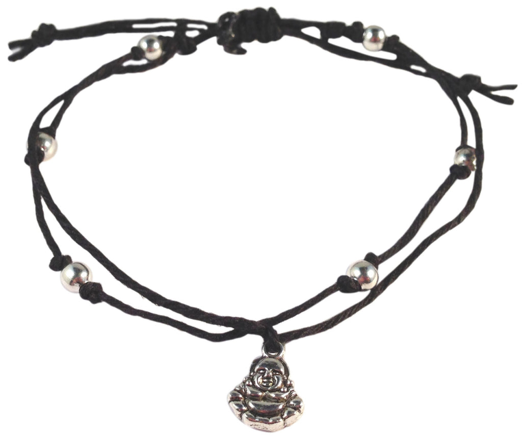 ANKLET Double Hemp String with BUDDHA Charm and Silver Tone Metal Beads - Vilda Fashion Jewellery - 1