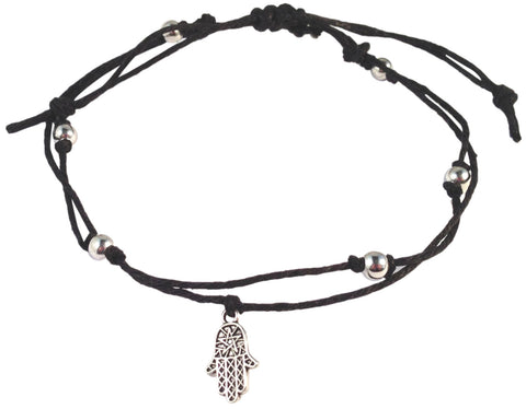 ANKLET Double Hemp String with HAMSA Charm and Silver Tone Metal Beads Fatima's Hand Miriam Humsa