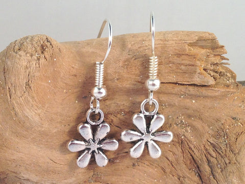 DAISY FLOWER EARRINGS Tibetan Style Silver Tone Charms on Nickelfree Hooks - Vilda Fashion Jewellery - 2