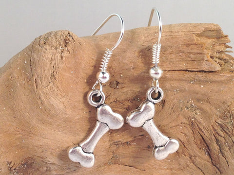 DOG BONE EARRINGS Tibetan Style Silver Tone Charms on Nickelfree Hooks - Vilda Fashion Jewellery - 2