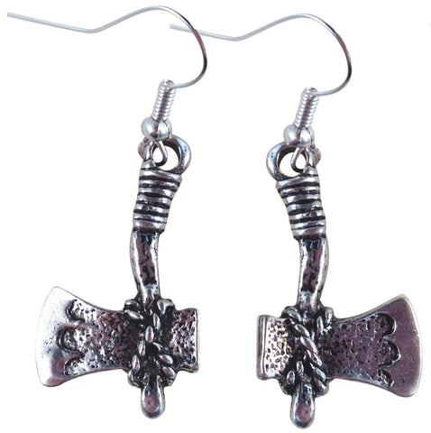 AXE EARRINGS Tibetan Style Silver Tone Charms on Nickelfree Hooks Stone Age Rustic