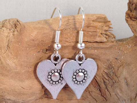 HEART EARRINGS Tibetan Style Silver Tone Charms on Nickelfree Hooks - Vilda Fashion Jewellery - 2