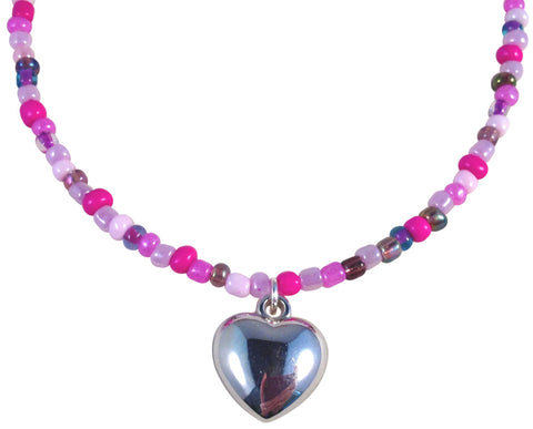 "HEART Pendant NECKLACE with Pink and Purple Mix Glass Seed Beads Fits 16-18"" - Vilda Fashion Jewellery - 1"