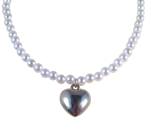 "HEART Pendant NECKLACE with Shimmery Pearly White Acrylic Beads Fits 16-18"" - Vilda Fashion Jewellery - 1"