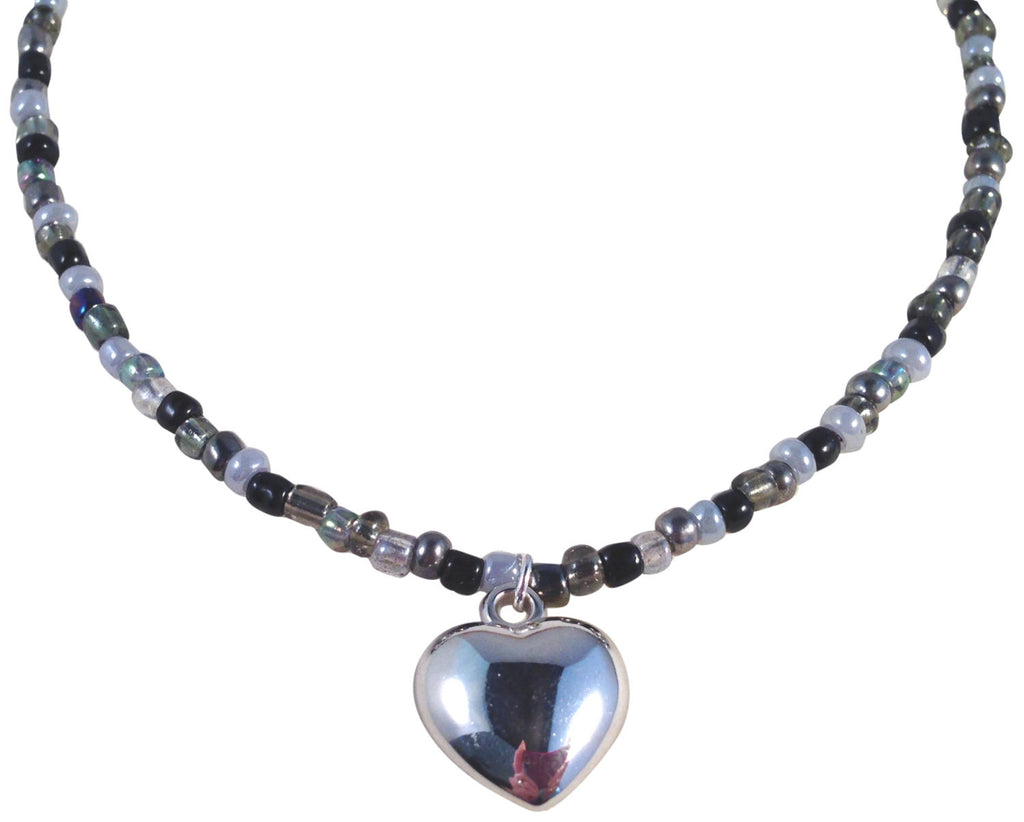 "HEART Pendant NECKLACE with Black and Grey Glass Seed Beads Fits 16-18"" - Vilda Fashion Jewellery - 1"