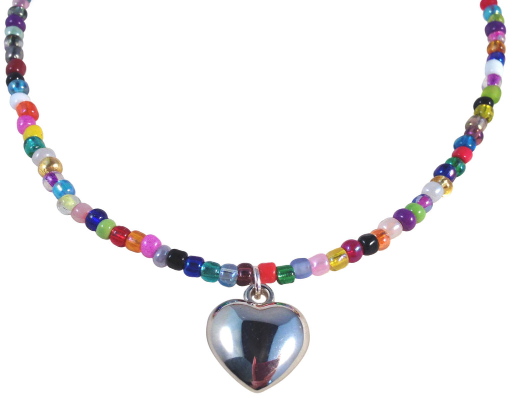 "HEART Pendant NECKLACE with Multi-Colour Mix Glass Seed Beads Fits 16-18"" - Vilda Fashion Jewellery - 1"