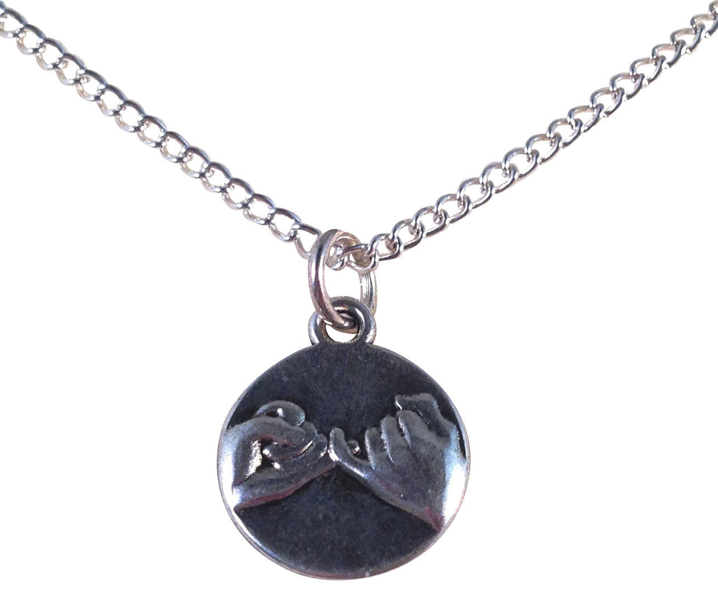 "PINKY PROMISE Charm Pendant NECKLACE on Silverplated Chain Choose 16"" 18"" 20"" - Vilda Fashion Jewellery - 1"