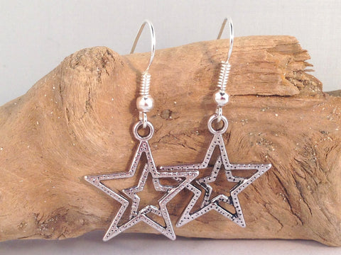 Double STAR Charm EARRINGS Tibetan Style Silver Tone Charms on Nickelfree Hooks - Vilda Fashion Jewellery - 2