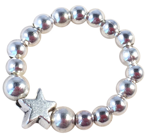 STAR Bead STRETCH RING Small Silver Tone Metal Beads on Elastic Finger Ring Choose from 5 Sizes