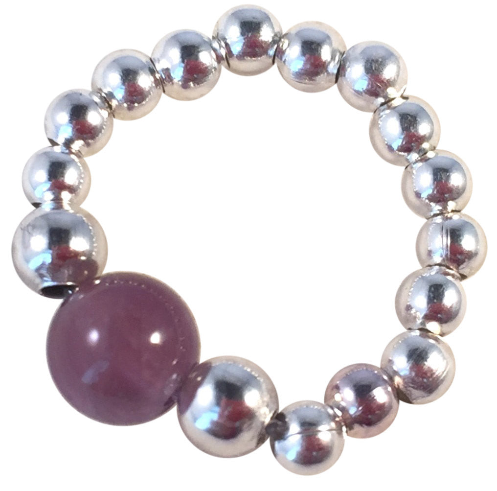 AMETHYST Bead STRETCH RING Small Silver Tone Metal Beads on Elastic Finger Ring Choose from 5 Sizes - Vilda Fashion Jewellery - 1