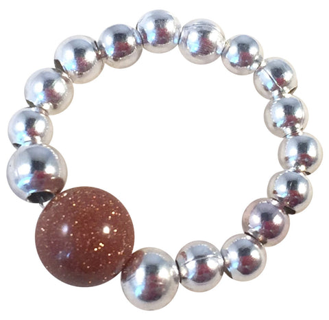 GOLDSTONE Bead STRETCH RING Small Silver Tone Metal Beads on Elastic Finger Ring Choose from 5 Sizes
