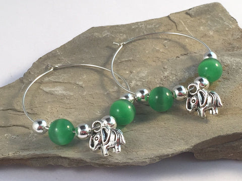 ELEPHANT Charm HOOP EARRINGS with Green Cats Eye Beads on Silver Tone Hoops - Vilda Fashion Jewellery - 2