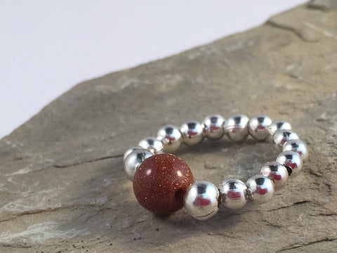 GOLDSTONE Bead STRETCH RING Small Silver Tone Metal Beads on Elastic Finger Ring Choose from 5 Sizes - Vilda Fashion Jewellery - 2