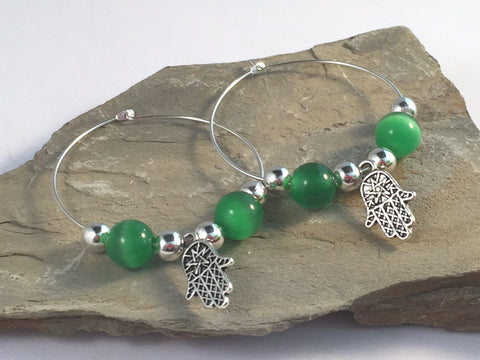 HAMSA Charm HOOP EARRINGS with Green Cats Eye Beads on Silver Tone Hoops Fatima's Hand Miriam - Vilda Fashion Jewellery - 2