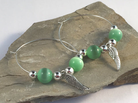 ANGEL Wings Charm HOOP EARRINGS with Green Cats Eye Beads on Silver Tone Hoops - Vilda Fashion Jewellery - 2