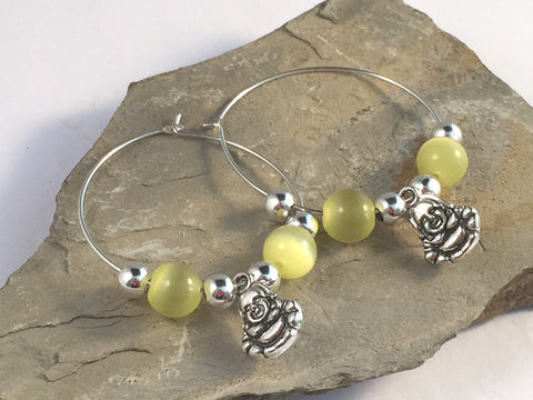 BUDDHA Charm HOOP EARRINGS with Yellow Cats Eye Beads on Silver Tone Hoops Buddhism Meditation - Vilda Fashion Jewellery - 2
