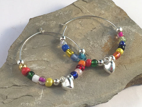 HEART Charm HOOP EARRINGS with Mixed Glass Seed Beads on Silver Tone Hoops - Vilda Fashion Jewellery - 2