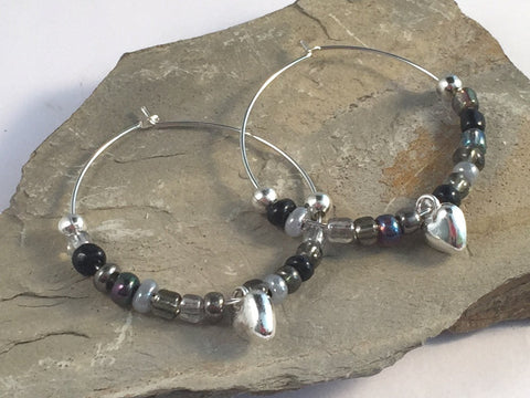 HEART Charm HOOP EARRINGS with Black and Grey Glass Seed Beads on Silver Tone Hoops - Vilda Fashion Jewellery - 2