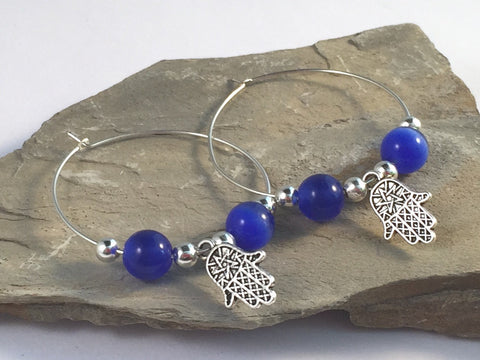 HAMSA Charm HOOP EARRINGS with Deep Blue Cats Eye Beads on Silver Tone Hoops Fatima's Hand Miriam - Vilda Fashion Jewellery - 2