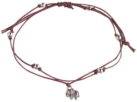 ANKLET Double Hemp String with ELEPHANT Charm and Silver Tone Metal Beads - Vilda Fashion Jewellery - 5