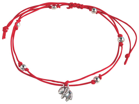 ANKLET Double Hemp String with ELEPHANT Charm and Silver Tone Metal Beads - Vilda Fashion Jewellery - 4