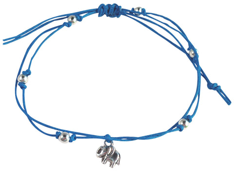 ANKLET Double Hemp String with ELEPHANT Charm and Silver Tone Metal Beads - Vilda Fashion Jewellery - 3