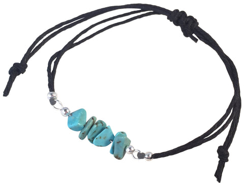 TURQUOISE Chip Bead BRACELET Double Black Hemp String with Silver Tone Metal Beads