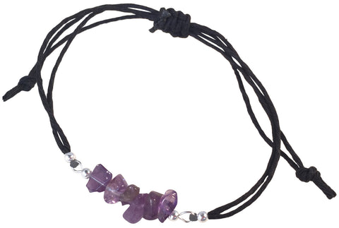 AMETHYST Chip Bead BRACELET Double Black Hemp String with Silver Tone Metal Beads