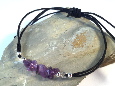 AMETHYST Chip Bead BRACELET Double Black Hemp String with Silver Tone Metal Beads - Vilda Fashion Jewellery - 2