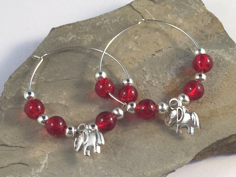ELEPHANT Charm HOOP EARRINGS with Bright Red Crackle Glass Beads on Silver Tone Hoops - Vilda Fashion Jewellery - 2
