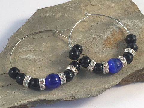 HOOP EARRINGS with Dark Blue Catseye Glass Beads and Black Acrylic Beads on Silver Tone Hoops - Vilda Fashion Jewellery - 2