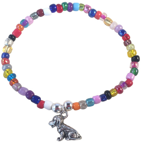 DOG Charm BRACELET 9 Colour Choices Seed Glass Beads and Silver Tone Beads - Vilda Fashion Jewellery - 3