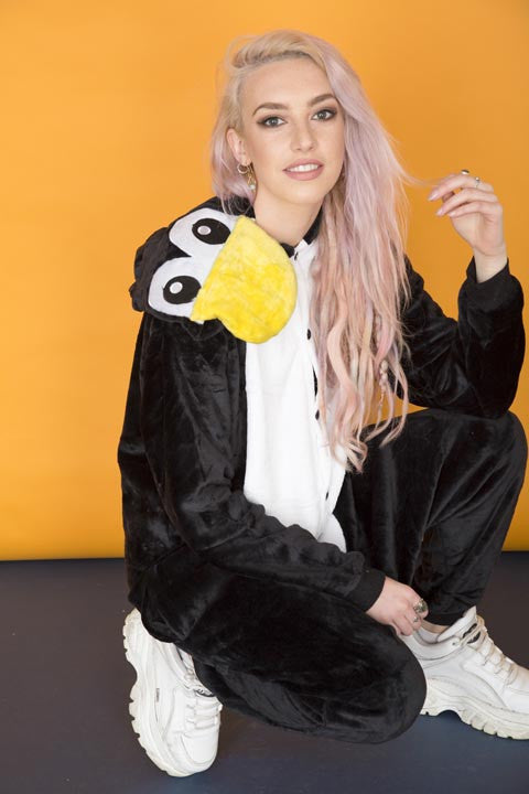 Black Cartoon Penguin Onesie | Onesieful