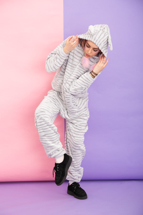 Luxury Grey Zebra Onesie | Primark AW15